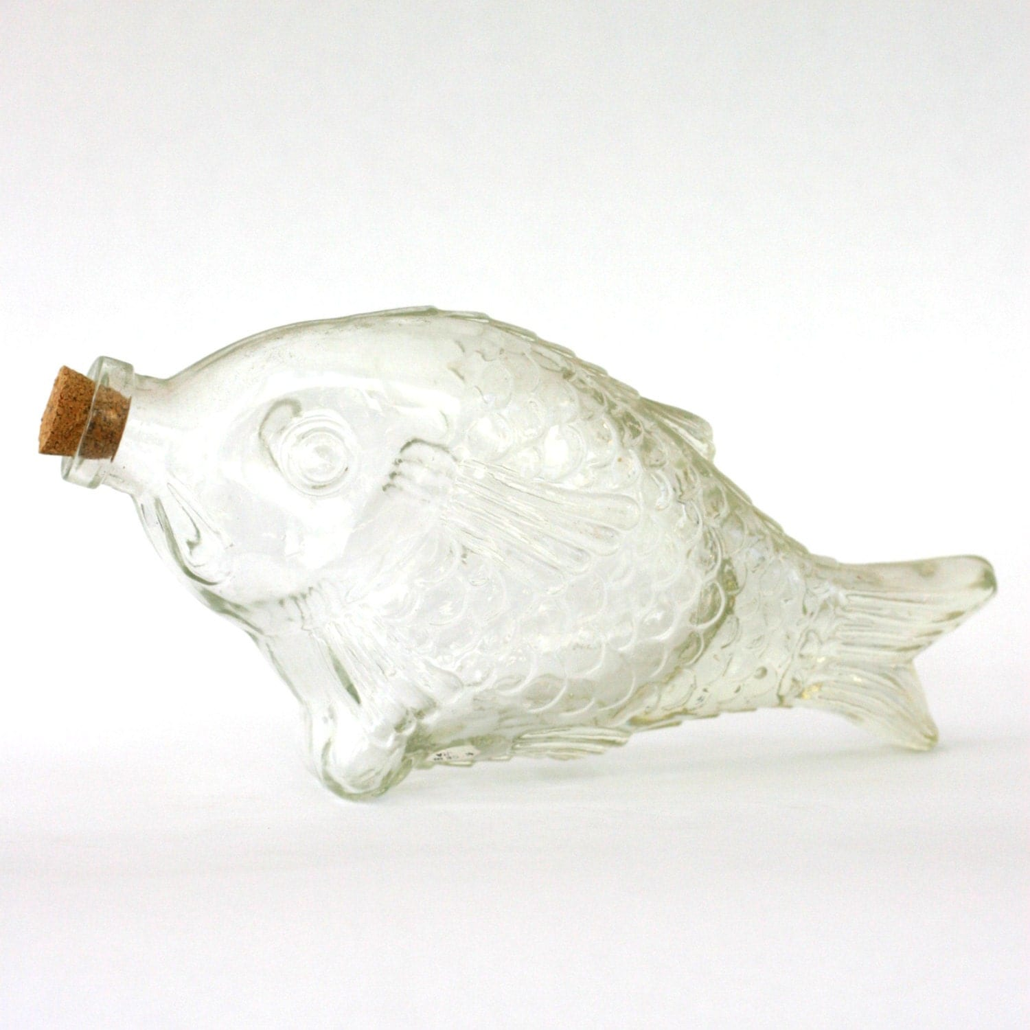 Vintage glass fish bottle decanter figurine koi fish for Koi fish figurines