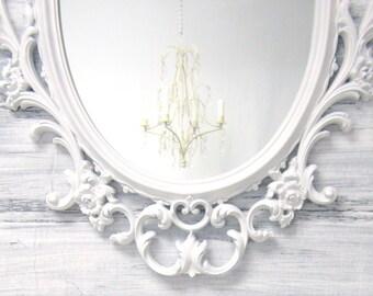 "Vintage HOLLYWOOD REGENCY MIRRORS For Sale Regency Decor Unique Vanity Mirror Bathroom 33""x21"" Gold Black White Silver Framed Mirror"