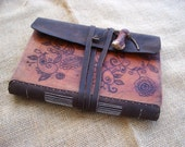 Custom Leather Journal or Sketchbook - Hand Cut, Chiseled, Tooled Engraved, Dyed and Stitched