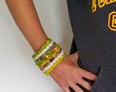 Bracelet, cuff, fiber cuff, texture cuff, hand hooked, boho bracelet cuff, gypsy cuff,sari silk, eco friendly