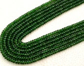 SUPERB, 1/2 Strand,Very-Very,Finest Quality,Gorgeous Item, aaa Russian CHROME DIOPSIDE Micro Faceted Rondells, 3-3.5mm Rare Quality Item