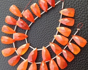 5 Matched Pairs,Brand New, CARNELIAN Faceted PYRAMID Shaped Briolettes,15mm Long size,CALIBRATED Size,Matched Pairs.