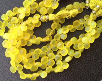 7 Inches Strand,Wholesale Offer, LEMON YELLOW Chalcedony Faceted HEART Briolettes,8-8.5mm Long size,Gorgeous