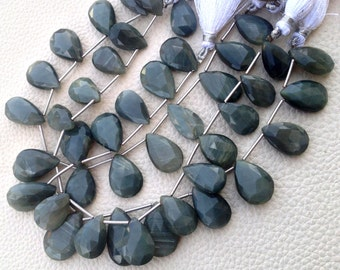 8 Inch Strand, Green-Grey Cat's Eye Faceted Pear Briolettes,16-18mm Aprx.Amazing Giant Size Pear
