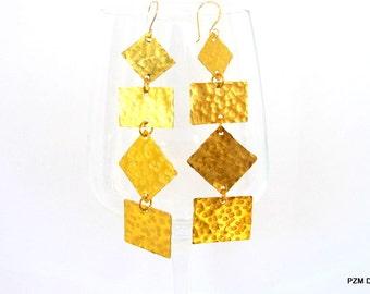 Geometric brass earrings, long hammered tribal earrings,  modern metal jewelry, gift under 40