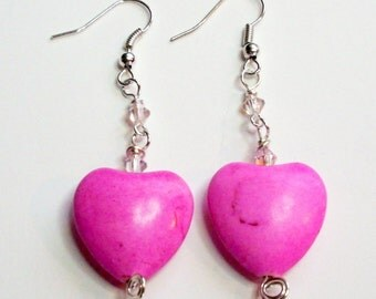 Heart Pink and Silver Wire Wrapped Earrings