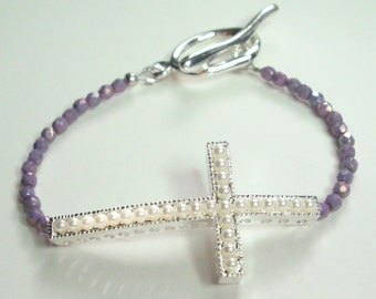 Sideways Cross White Pearl Silver Purple Crystal Pewter Handmade Bracelet