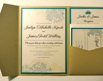 Coral Reef with Starfish & Crab Design Beach Inspired Wedding Invitation