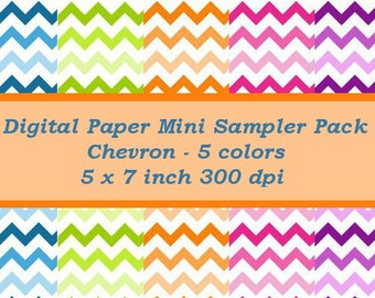 Chevron Digital Paper Mini Scrap Pack - 5 x 7 - Instant Download