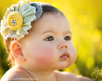 Just Ducky - chiffon, ruffle and rosette headband