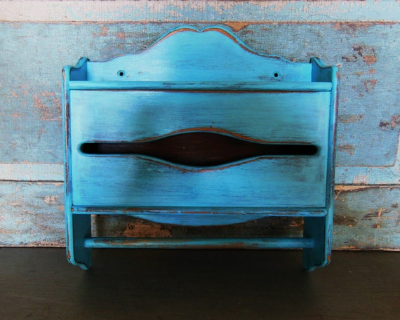 Cot In A Box Morocco Turquoise: Turquoise TIssue Box Holder Shelf Towel Rack By