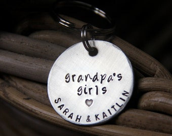 Custom Keychain for Grandpa / Papa in 1.25'' Personalized, Hand Stamped Silver- Great for Grandparents, Dads, Moms & Gifts