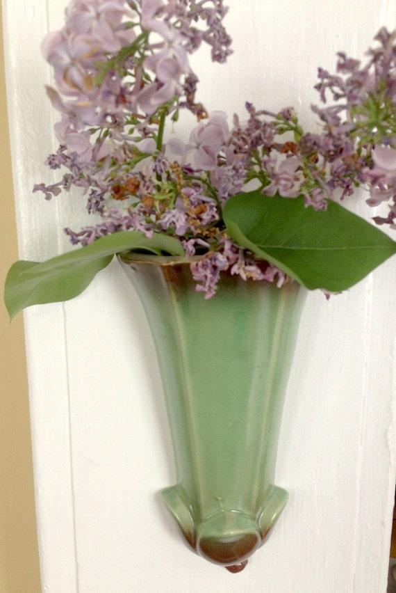 Vintage Wall Pocket Vase Green Brown Japan Trumpet Tulip