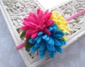 Basic Bright . elastic headband . felt flower cluster . toddler hair accessory . hot pink yellow turquoise