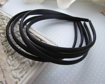 Jet . satin headbands . girls hair accessory . black