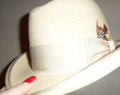biltmore  straw derby bowler soring summer  hat  lightweight band and feather size 7 mint  looking
