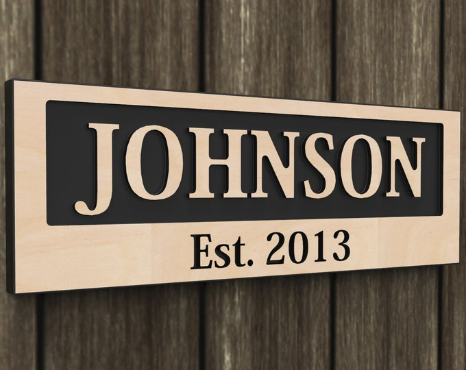 Personalized Family Name Engraved Wood Sign, Last Name Sign, family Established Custom Wood Engraved Sign wedding gift.