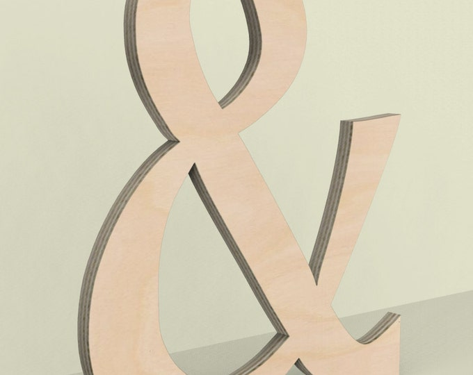 "Ampersand & Wood Door or Wall Hanger 18"" tall Custom Made Unfinished Ready for Painting."