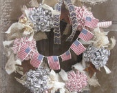Shabby Chic 4th of July Wreath