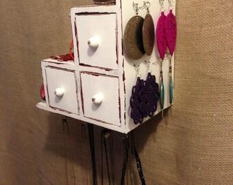 Upcycled Jewelry Organizing Display (White Drawer Box)
