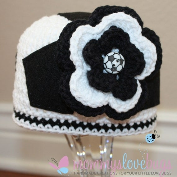 Score Soccer Girls Crochet Beanie with removable Flower Hair Clip - Newborn through 4T Sizes Available