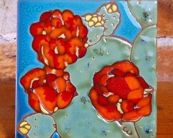 "6""x6"" Hand Glazed Decorative Tile Coaster Trivet Prickly Pear Cactus Bloom"