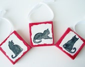 Tiny Cat Sihouettes - set of 3 - Black Cat - BecArt