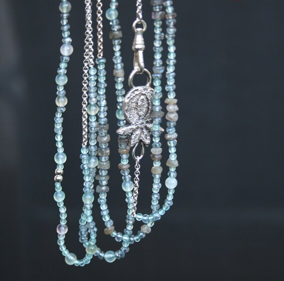 extra LONG very delicate sterling silver and natural gemstone beads in AQUA tones
