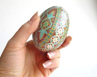 gift for Dad blue brown goose Egg Pysanka Ukrainian easter egg batik painted egg shell