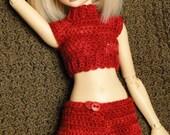 Red Crochet Shorts Slim MSD