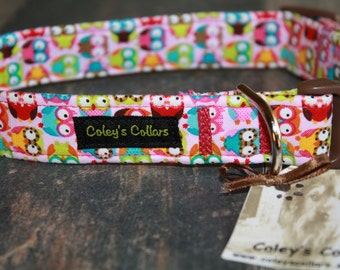 """Dog Collar """"Owls in Pink"""""""