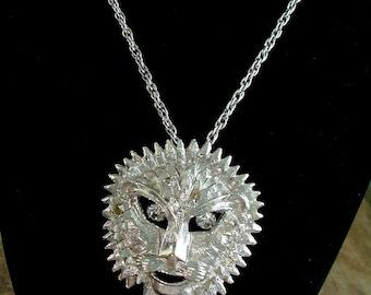 LION pendant NECKLACE pin / brooch w/ Dangling Rhinestone Eyes 1970s