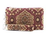 Bohemian clutch - boho bag handmade from chenille fabric - womens small purse set - pouch & key fob - wristlet - handbag