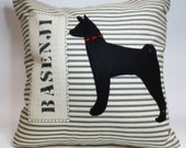 Basenji Felt Pillow - Black Dog Pillow - Decorative throw accent pillow cushion cover