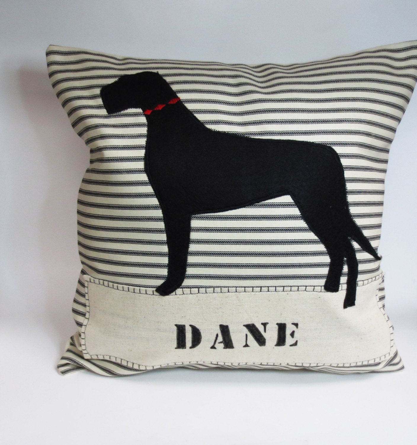 Decorative Pillow With Dog : Great Dane Felt Pillow Decorative Great Dane Dog Felt