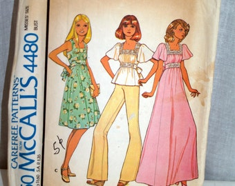 1970s McCalls pattern misses dress or top gathered front midriff - 4480
