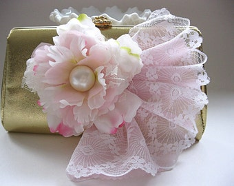 Metallic gold vintage evening bag, embellished gold vintage clutch, pink flowers, white and pink lace, for bride, wedding, prom, party
