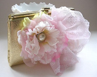 Metallic gold embellished evening bag, metallic gold vintage clutch, pink flowers, white and pink lace, for bride, wedding, prom, party