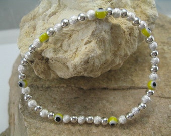 Silver Evil Eye Bracelet, Silver Bracelet, Everyday Bracelet, Evil Eye Jewelry, Yellow Bead Stretch Mala Silver Yoga Bracelet
