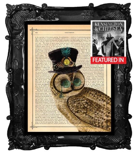 Steampunk Art Print Owl Art Print Beautiful Dictionary Antique Book Page Print