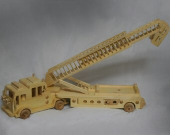 Wooden Fire Truck with Ladder that Extends