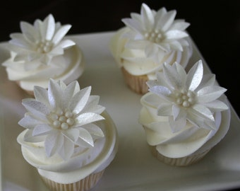 6 Wafer Gerbera Daisies with edible Sugar Bead, in pearl, silver or gold