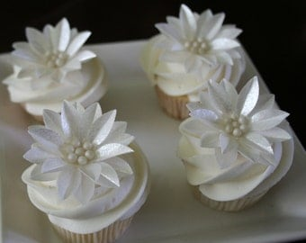 wafer paper flower, 6 Gerbera Daisies with edible Sugar Beads, in White, Pearl, Silver or Gold colors