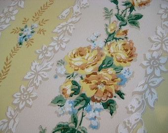 Vintage Wallpaper - Yellow Roses Blue Floral Stripes - 1 Yard