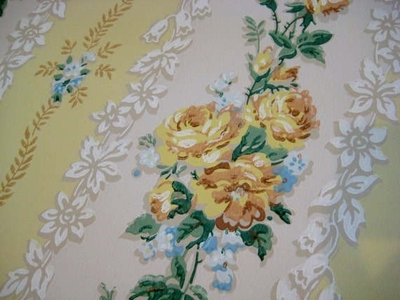 Vintage Wallpaper Yellow Roses Blue Floral Stripes 1 Yard