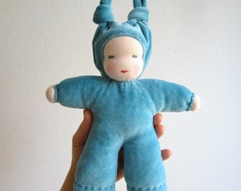 Organic Waldorf Doll 10.5inch, blue, turquoise, eco friendly, bunting, cosy, baby gift, shower gift