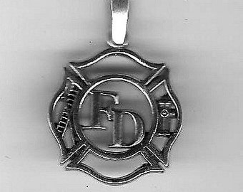 Firefighter Pendant Sterling Silver Free Shipping