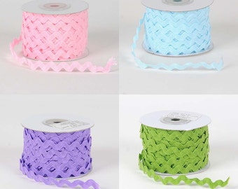 10 mm Ric Rac trim - 5 yards, your choice of lt pink, lt blue, lt purple, spring moss