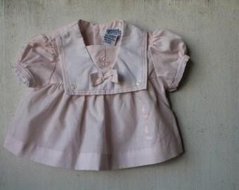 Vintage Pink Sailor Dress, Vintage Baby Clothes