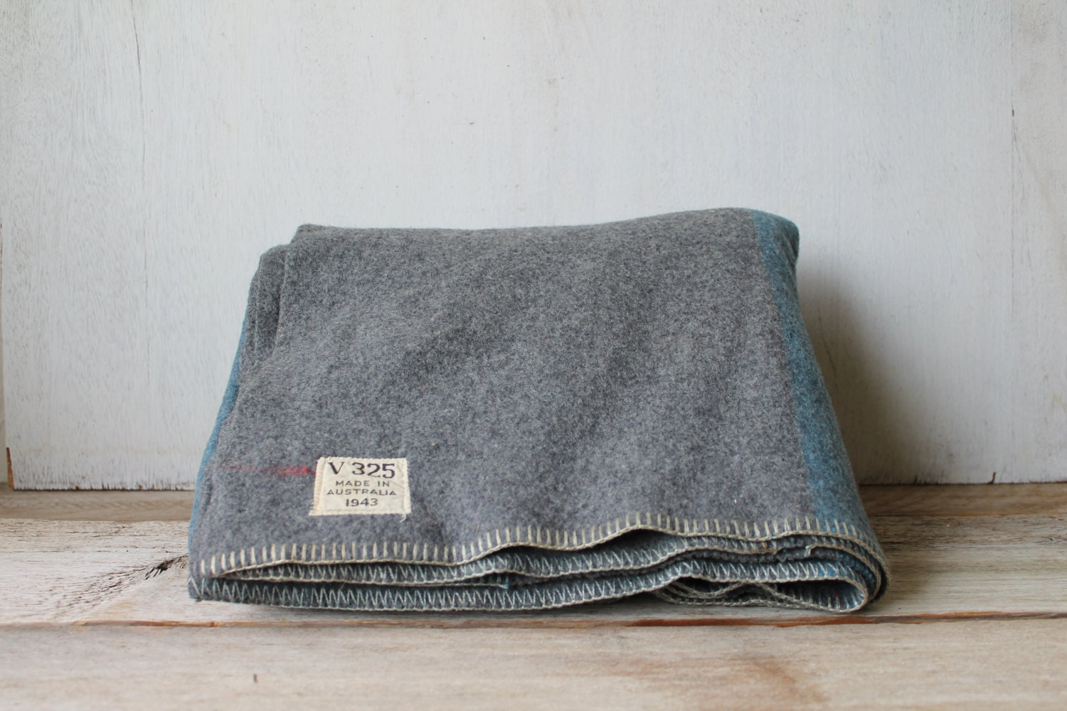 Vintage 1943 Wwii Gray Blue Military V325 Wool Blanket